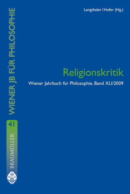 Cover Wiener Jahrbuch für Philosophie Band 41 Religionskritik © new academic press